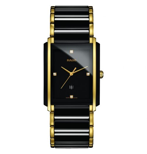 Rado Integral Diamonds L Herrenuhr Schwarz Gold Diamanten Keramik Quartz R20204712 | Uhren-Lounge