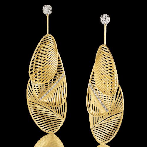 Luisa Rosas Tribe Ohrringe 3-teilig Gold mit Diamanten M LRTR200