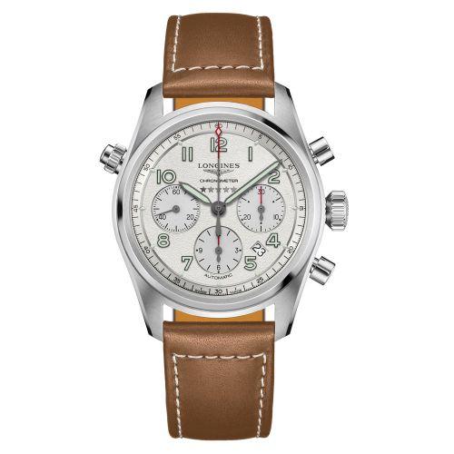 Longines Spirit Chronograph Automatic Silbern Leder-Armband Herrenuhr 42mm L3.820.4.73.2