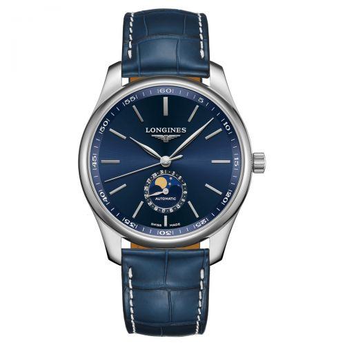 Longines Master Collection Mondphase Blau Leder-Armband Herrenuhr 42mm Automatik L2.919.4.92.0