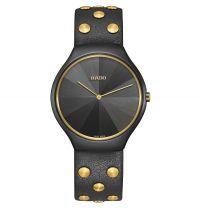Rado True Thinline Studs Limited Edition Uhr Damen Herren Keramik Schwarz Leder Quarz 39mm R27012105