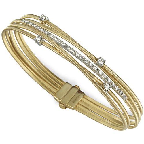 Marco Bicego Armreif Goa Gold mit Diamanten 5 Stränge Armband BG618 B2 YW