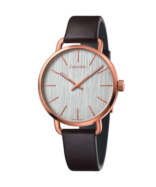 Calvin Klein Herrenuhr Rosegold Silber Lederarmband braun even K7B216G6 | Uhren-Lounge