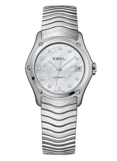 Ebel Damenuhr Automatik silber mit Perlmutt-Zifferblatt weiß mit 11 Diamanten und Edelstahl-Armband 27mm Ebel Classic Lady 1216002
