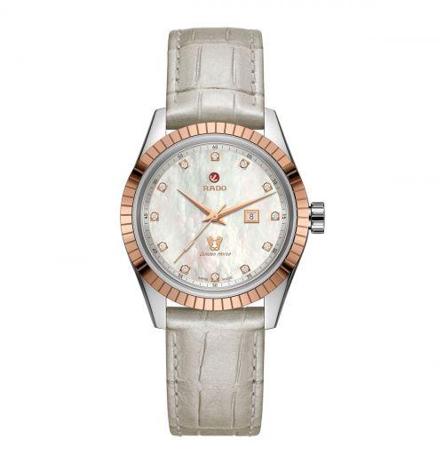 Rado HyperChrome Classic Automatic Diamonds Damenuhr Perlmutt Diamanten Leder-Armband R33102905