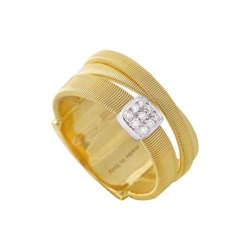 Marco Bicego Ring Gold mit Diamanten Pave 3 Stränge Masai AG329 B YW M5