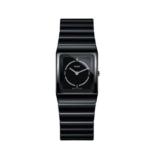 Rado Jubile Ceramica Diamonds S Damenuhr mit Diamanten Keramik Schwarz Silber Quartz R21702732 | Uhren-Lounge