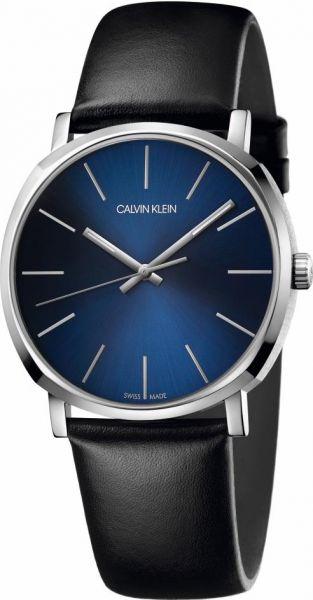 Calvin Klein Uhr Herren 40mm Zifferblatt blau Lederarmband schwarz Posh K8Q311CN