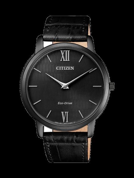 Citizen Stiletto Herrenuhr schwarz 39mm mit Eco Drive Antrieb 39mm mit schwarzem Gehäuse und Leder-Armband AR1135-10E