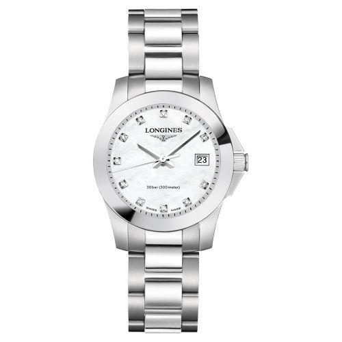 Longines Conquest Damenuhr Silber mit weißem Perlmutt-Zifferblatt & Diamanten 29,5mm Quarz L33764876