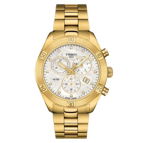 Tissot PR 100 Sport Chic Lady Chronograph Gold Perlmutt-Zifferblatt mit Diamanten T101.917.33.116.01 | Uhren-Lounge