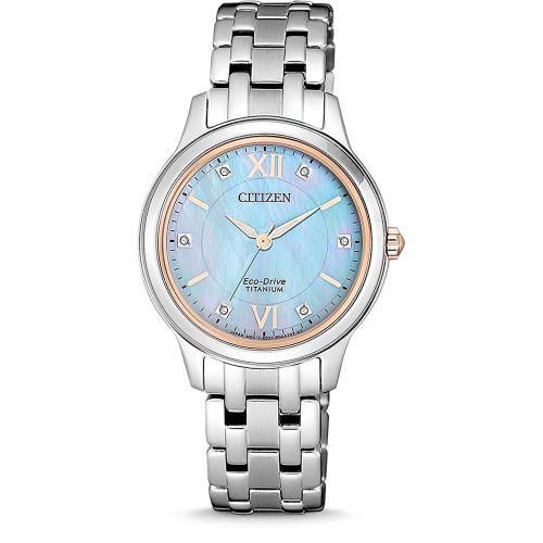 Citizen Damenuhr mit umweltfreundlichen Eco-Drive und funkelnden Kristallen EM0726-89Y