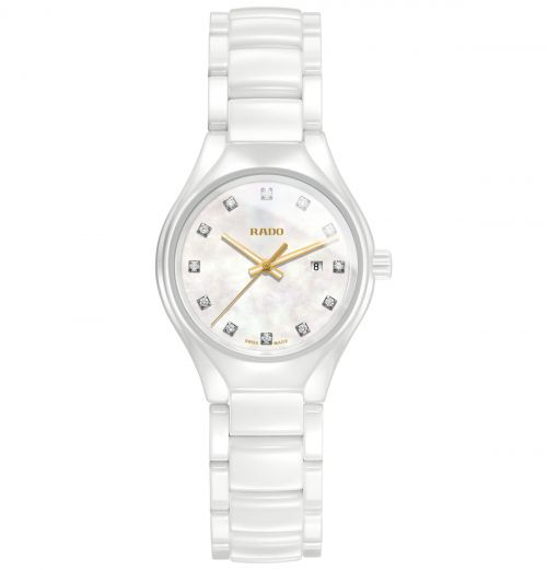 Rado True Diamonds Keramik Weiß Damenuhr mit Diamanten 30mm Quarz Jubile R27061902