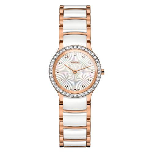 Rado Centrix Diamonds XS Damenuhr mit Diamanten Weiß Rosegold Keramik 23mm Quarz Jubile R30218912