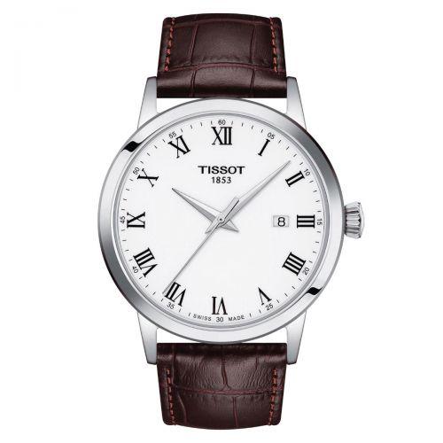 Tissot Classic Dream Herrenuhr 42mm Quarz Silber Weiß Leder-Armband T129.410.16.013.00