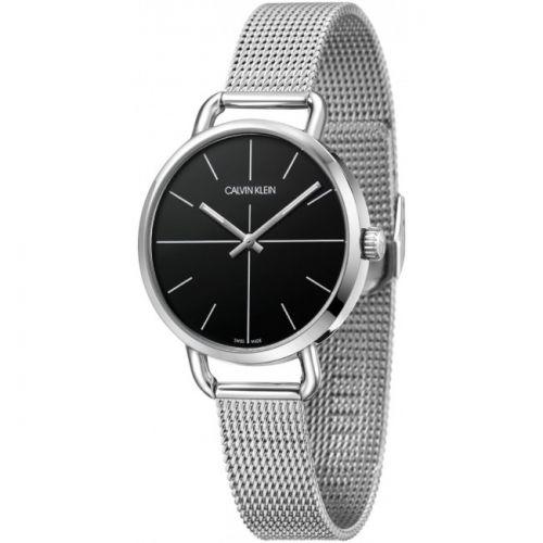 CALVIN KLEIN Uhr Damen Silber Schwarz Milanese-Armband 36mm Even K7B23121 | Uhren-Lounge