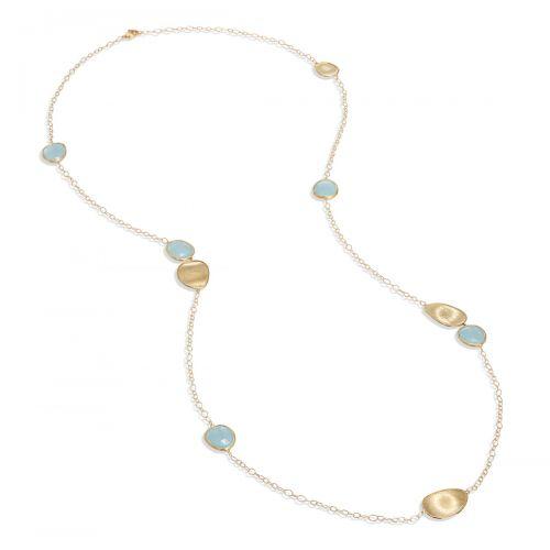 Marco Bicego Lunaria Kette Gold mit blauen Aquamarin Edelsteinen 100 cm CB1982 AQD Y