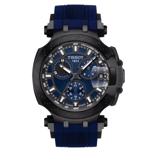Tissot T-Race Chronograph Blau Kautschuk-Armband Herrenuhr Quarz 43mm T115.417.37.041.00