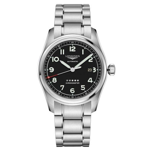 Longines Spirit Automatic 42mm Schwarz Edelstahl-Armband Herrenuhr Chronometer L3.811.4.53.6