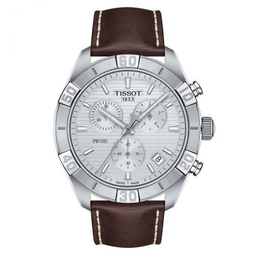 Tissot PR 100 Sport Gent Chronograph Herrenuhr 44mm Silber Leder-Armband Quarz T101.617.16.031.00