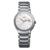 Rado Centrix Damenuhr Silber mit weißem Zifferblatt & Edelstahl-Armband Quarz 28mm R30928123 | Uhren-Lounge