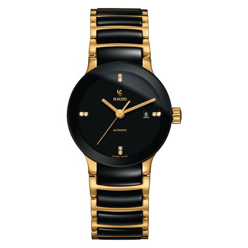 Rado Centrix Automatic Diamonds S Damenuhr mit Diamanten Schwarz Gold Keramik 28mm Jubile R30034712