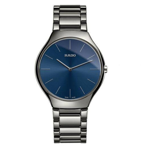 Rado True Thinline L Grau Blau Keramik Uhr Herren & Damen 39mm Quarz R27955022 | Uhren-Lounge