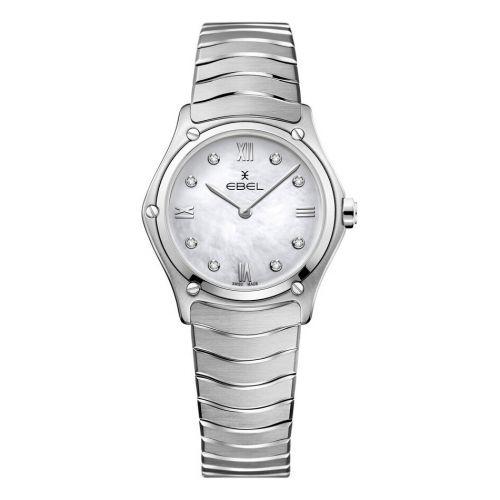 Ebel Sport Classic Lady Silber Perlmutt-Zifferblatt Weiß Damenuhr mit Diamanten und Edelstahl-Armband 1216417A | Uhren-Lounge