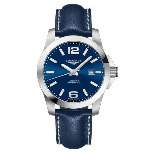 Longines Conquest Automatik 41mm Blau Leder-Armband Herrenuhr L3.777.4.99.0