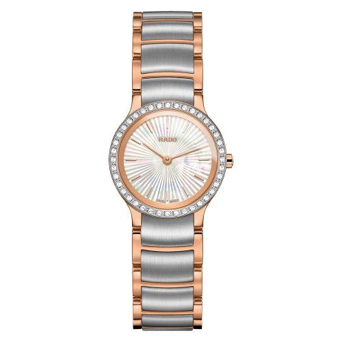 Rado Centrix Diamonds XS Damenuhr mit Diamanten Rosegold Silber Perlmutt 23mm Quarz Jubile R30218923