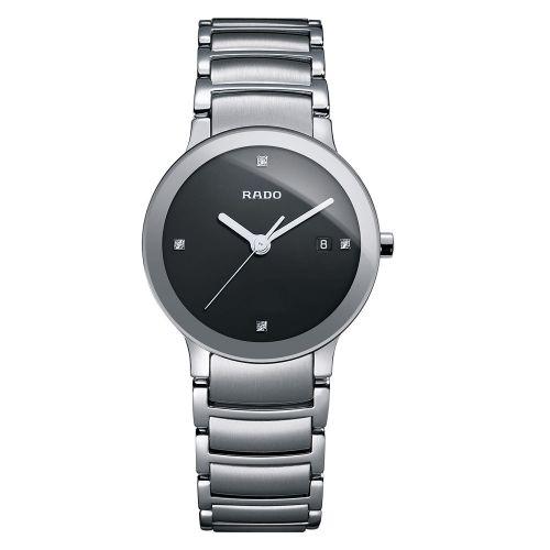 Rado Centrix Diamonds S Damenuhr Silber Schwarz mit Diamanten Edelstahl-Armband Quarz 28mm Jubile R30928713