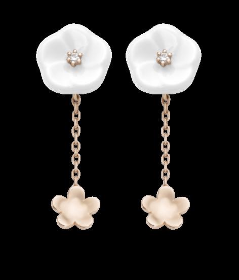 Meissen Ohrringe 2 Blüten Porzellan Rosegold Diamanten 1739 Royal Blossom MPJ55BL18600