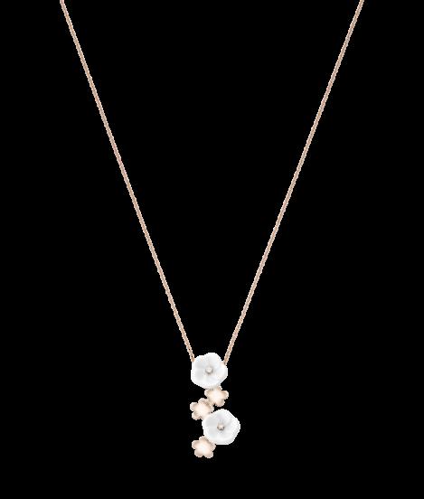 Meissen Collier Halskette 5 Blüten Porzellan Rosegold Diamanten 1739 Royal Blossom MPJ20BL186C45