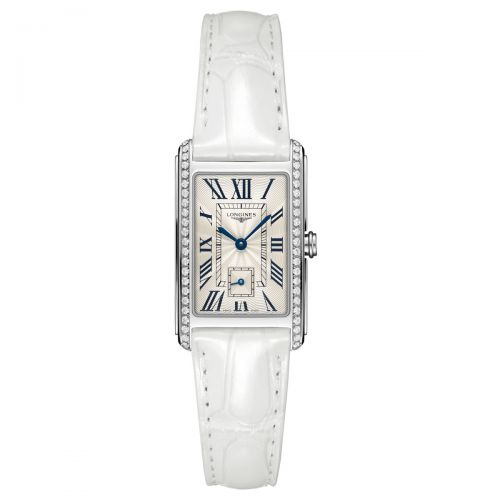 Longines DolceVita Damenuhr mit Diamanten Weiß Leder-Armband 37mm Quarz L5.512.0.71.2