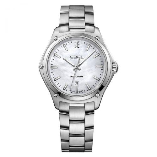 Ebel Discovery Lady Damenuhr Silber Perlmutt-Zifferblatt Weiß 33mm Edelstahl-Armband Quarz 1216393
