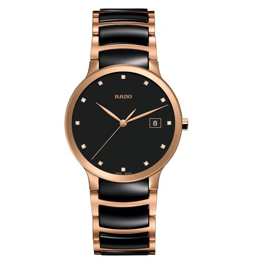 Rado Centrix Diamonds Herrenuhr L Schwarz Rosegold Keramik Quarz 38mm Jubile R30554732