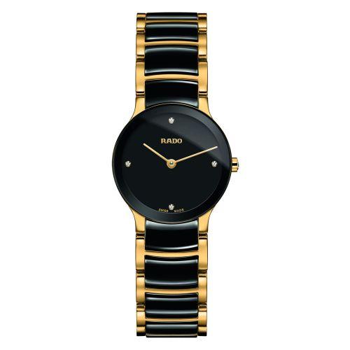 Rado Centrix Diamonds XS Damenuhr mit Diamanten Schwarz Gold Bicolor Quarz R30189712 | Uhren-Lounge
