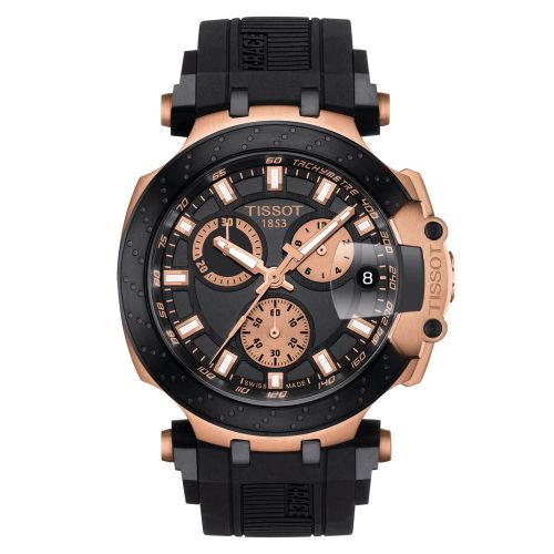 Tissot T-Race Chronograph Rosegold Schwarz Kautschuk-Armband Herrenuhr Quarz 43mm T115.417.37.051.00