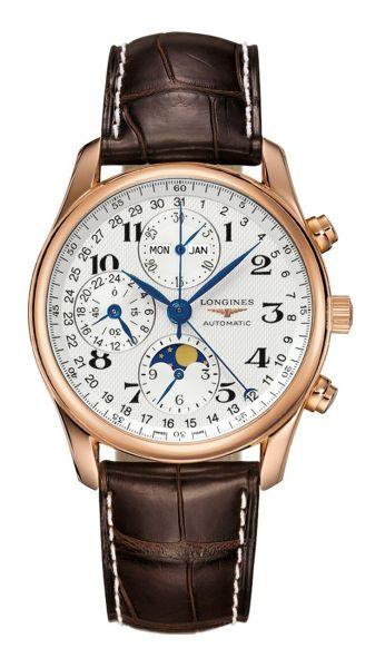 The Longines Master Collection Automatic Uhr Herren Chronograph 40mm aus Rosegold mit silber-weißem Zifferblatt mit Mondphase und braunem Alligator-Lederarmband L2.673.8.78.3