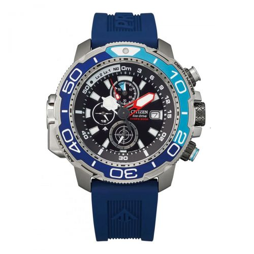 Citizen Promaster Marine Eco-Drive Taucheruhr Herren Chronograph 47mm Blau Gummband BJ2169-08E