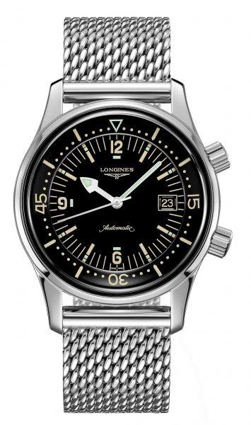 Longines Legend Diver 42mm Automatik schwarzes Zifferblatt & silbernes Edelstahl-Armband L3.774.4.50.6 | Uhren-Lounge