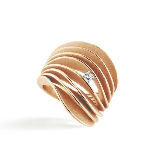 Annamaria Cammilli Ring mit Diamanten Gold Orange Apricot Serie Uno GAN3151J