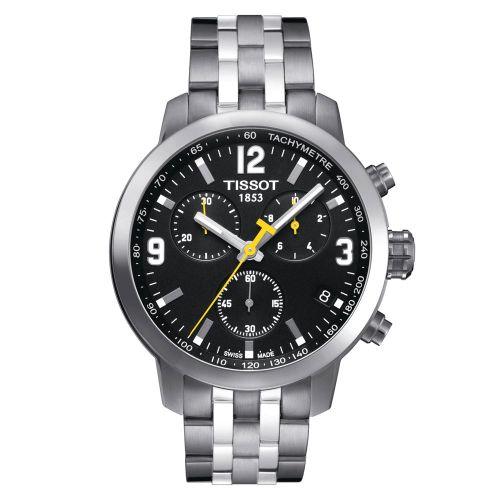Tissot PRC 200 Chronograph Herrenuhr 42mm Silber mit schwarzem Zifferblatt Quarz T055.417.11.057.00