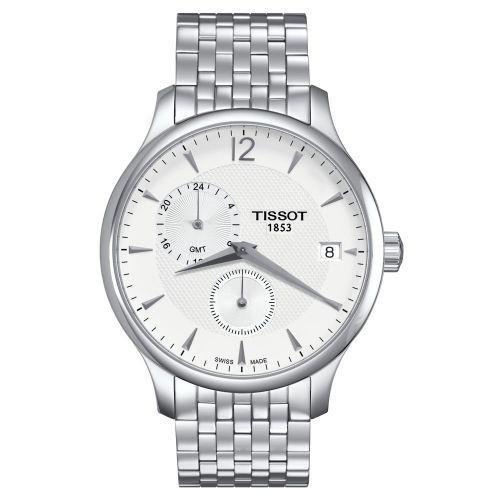 Tissot Tradition GMT Herrenuhr 42mm Silber Weiß Edelstahl-Armband Quarz T063.639.11.037.00