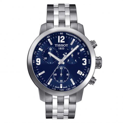Tissot PRC 200 Chronograph Silber Blau Edelstahl-Armband 42mm Quarz T055.417.11.047.00