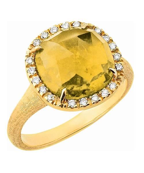 Marco Bicego Jaipur Ring mit gelbem Citrin Edelstein und 20 Diamanten aus 18 Karat Gold AB449-B2-QG01