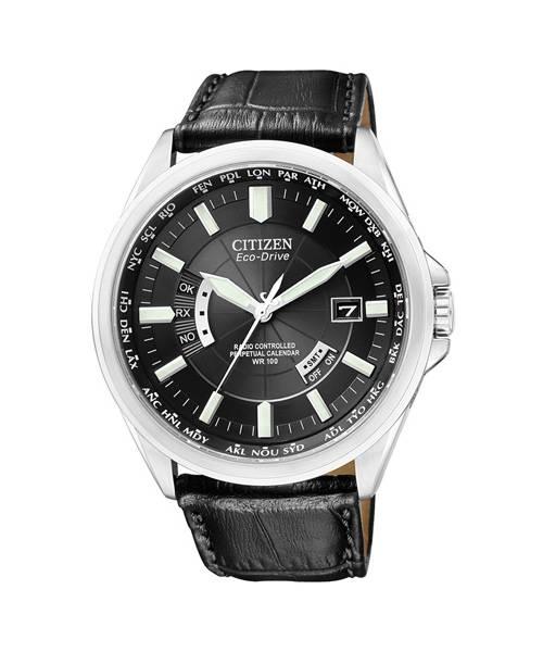 Citizen Eco-Drive 43mm Herrenuhr mit schwarzem Zifferblatt und Lederarmband CB0010-02E