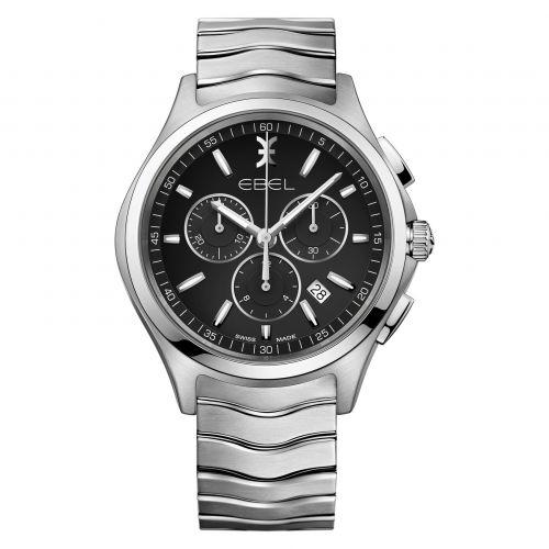 Ebel Wave Chronograph 42mm Quarz Silber Zifferblatt Schwarz Edelstahl-Armband 1216342 | Uhren-Lounge