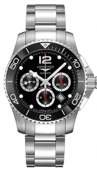 Longines HydroConquest Chronograph Schwarz 43mm Automatic Edelstahl-Armband L3.883.4.56.6 | Uhren-Lounge