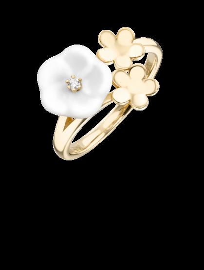 Meissen Ring aus Gold mit einem Diamanten im Brillantschliff 3 Blüten 1739 Royal Blossom MPJ10BL39600